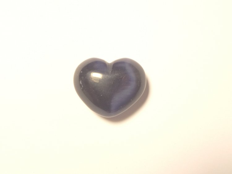 Cats Eye Purple Gemstone Heart Carving