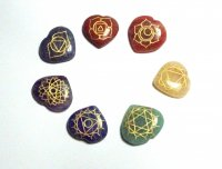 Chakra Gemstone Carved Heart Palmstone Set