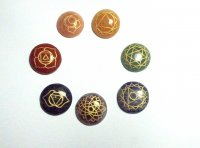 Chakra Gemstone Carved Round Palmstone Set