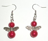 Cherry Red Glass Pearl Fairy Earrings