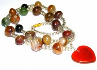 Chunky Indian Agate Necklace With Heart Focal Dropper