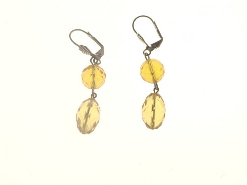 Citrine Double Facetted Gemstone Earrings