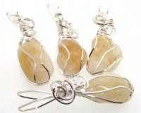 Citrine Gemstone Crystal Wire Wrapped Unique Pendant