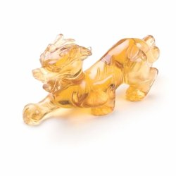 Carved Tiger Dragon Glass Citrine Colour
