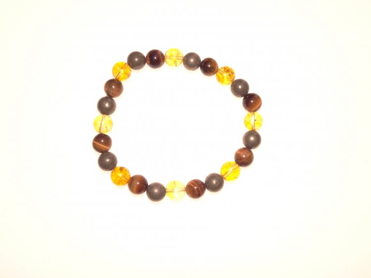 Tiger Eye, Citrine and Pyrite Power Bracelet