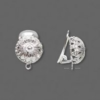 Earring Clip-on silver plated half loop - pair
