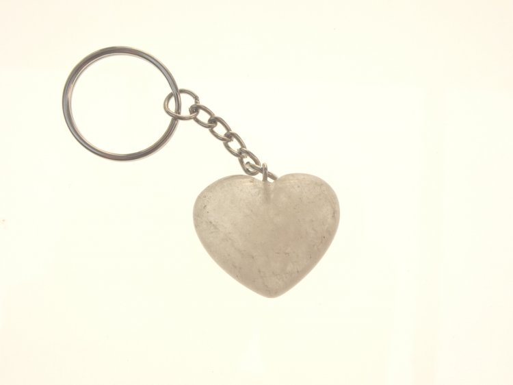 Cloudy Quartz Heart Gemstone Crystal Keyring