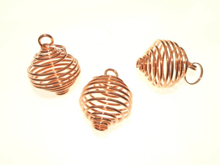 Premium Large Copper Plated Spiral Cage Pendant