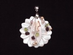 Crafted Flower Natural Shell And Gemstone Pendant
