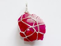 Red Andara Wire Wrapped Pendant