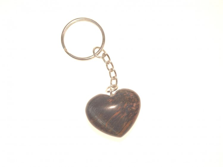 Falcons Eye Tiger Eye Heart Gemstone Crystal Keyring