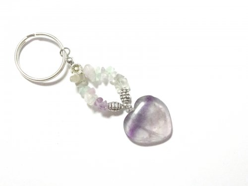 Fluorite Heart and Gemstone Chip Keyring