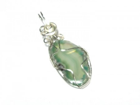 Green Agate Wire Wrapped / Sculpted Pendant