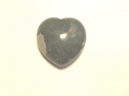 Green Moss Polished Gemstone Puff Crystal Heart - Large