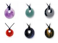 Gemstone Carved Donut Pendant - Various Types Available