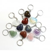 Gemstone Heart Keyring - Various Crystals available