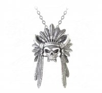 Skull Headdress Pewter Pendant