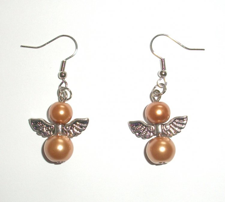 Gold Glass Pearl Angel Earrings