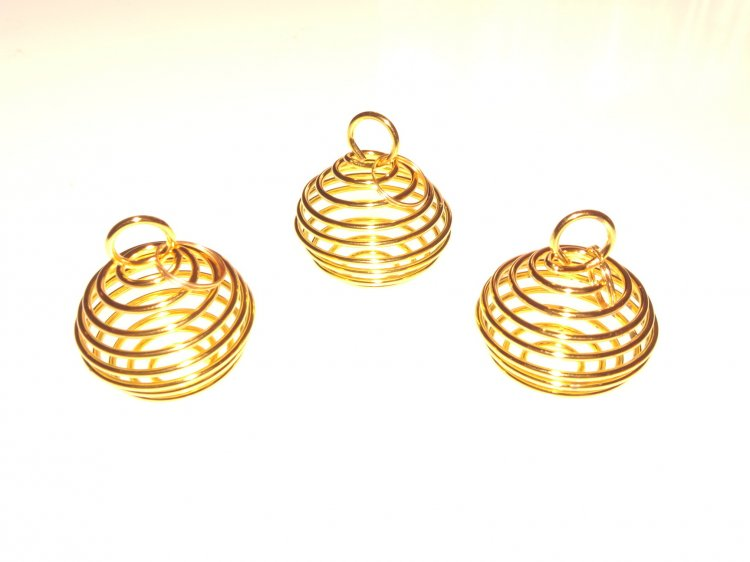 Premium Large Gold Plated Spiral Cage Pendant