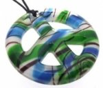 Green and Turquoise Glass Peace Sign Pendant
