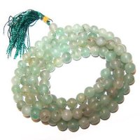 Green Aventurine Gemstone Mala Prayer Beads - 108 - with Pouch