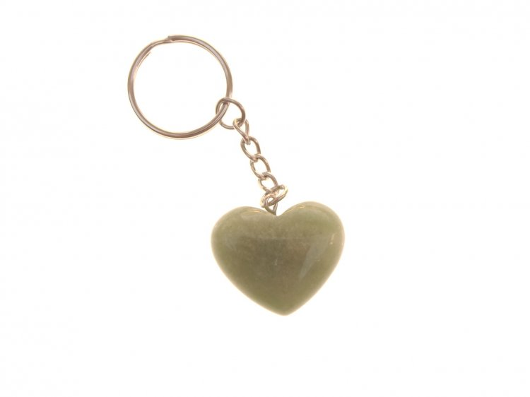 Green Aventurine Light Heart Gemstone Crystal Keyring