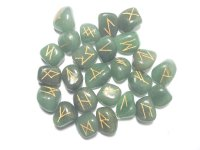 Green Aventurine Elder Futhark Rune Set With Pouch - Medium or Large