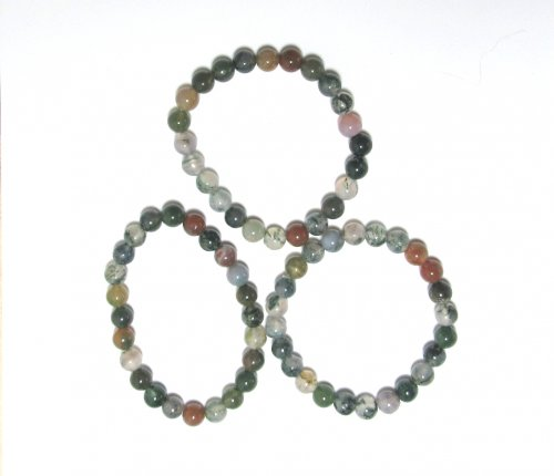 Green Moss Agate Gemstone Crystal Power Bracelet - No Toggle