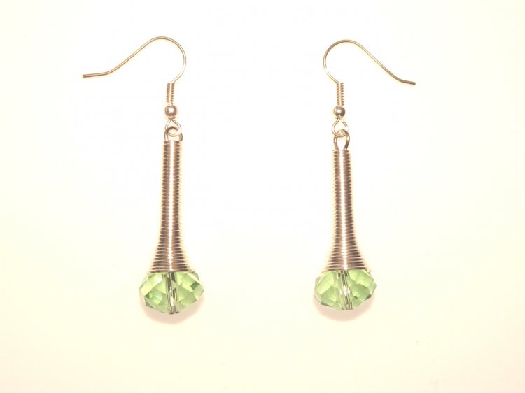 Green Sparkling Facetted Crystal Drop Earrings