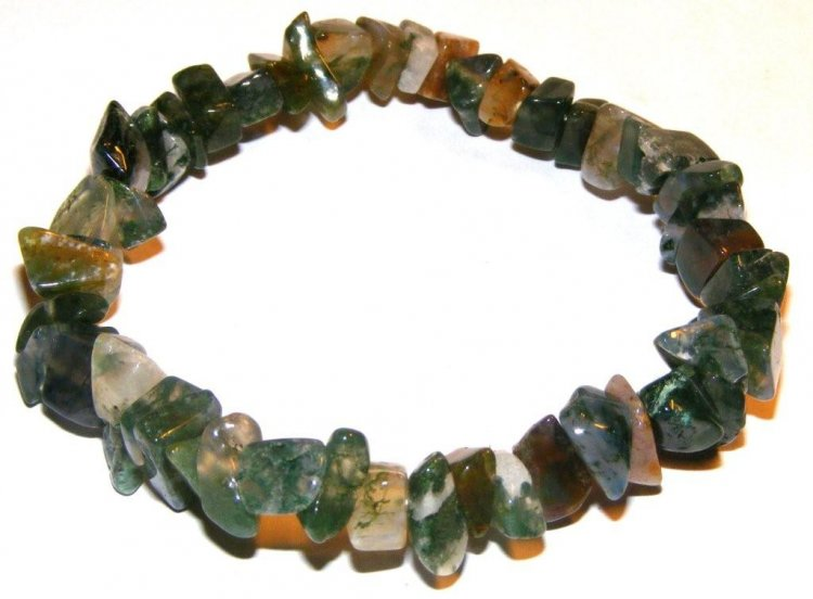 Green Moss Agate Gemstone Chip Bracelet