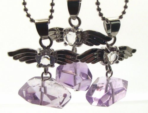 Guardian Angel Amethyst Nugget Gemstone Crystal Pendant