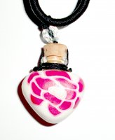 Fimo Heart Keepsake Locket Bottle Vial Pendant - with Cork and Necklace