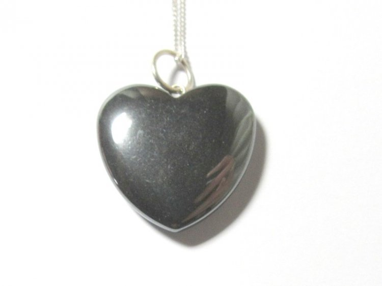 Hematite Gemstone Heart Pendant with Sterling Silver Chain