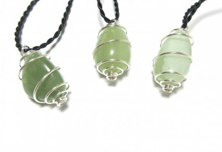 Jade Gemstone Spiral Pendant with Cord