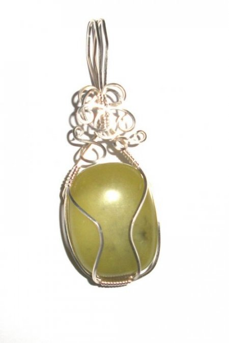 Jade Crystal Wire Wrapped Gemstone Crystal Pendant