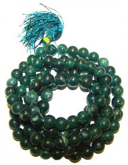 Jade Gemstone Mala Prayer Beads Necklace - 108 - with Pouch