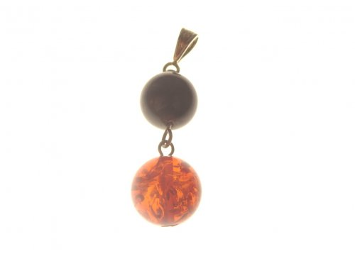 Jet and Amber Sphere Pendant
