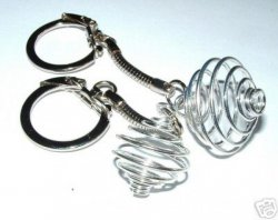 2 Spiral Cage / Dropper Key Rings For Gemstones + Crystals