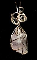 Kunzite Wire Wrapped / Sculpted Gemstone Pendant