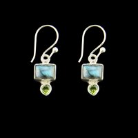 Labradorite and Peridot Cabachon Sterling Silver Earrings