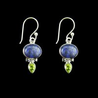 Lapis Lazuli and Peridot Sterling Silver Earrings