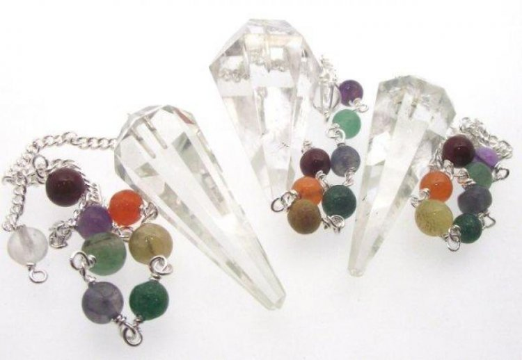 6 Facet Clear Quartz Point Pendulum with Chakra Chain
