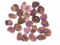 Amethyst Elder Futhark Rune Set With Pouch - Medium or Large