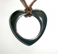 Abstract Carved Hematite Pendant 1