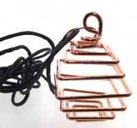 Large Copper Square Spiral Cage Dropper Pendant