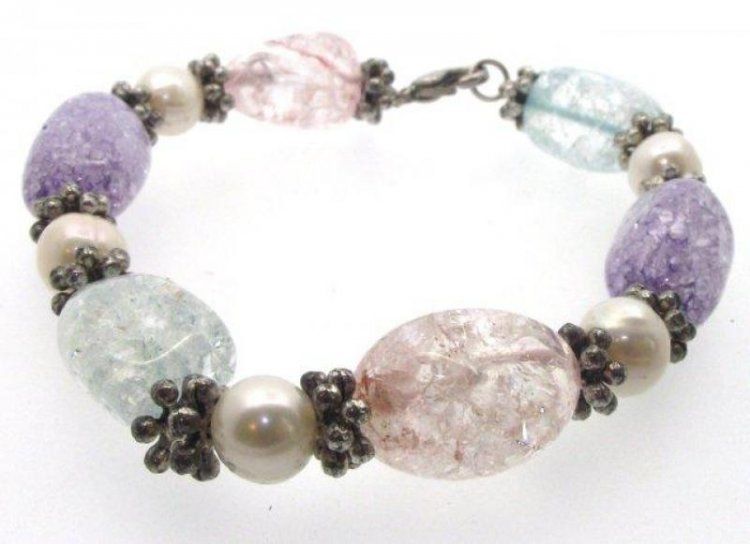 Mixed Crackle Quartz Tumblestone Bracelet