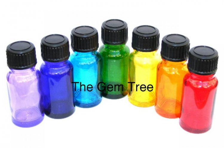 Full Set Of 7 Empty Chakra Glass Bottles - 10ml