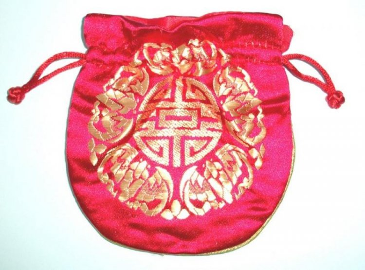 Gold Embossed Red Chinese Silk Brocade Pouch  18549  - £2.50   The ... e1482cb6f