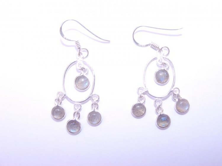 Labradorite Gemstone Cabachon Sts Earrings