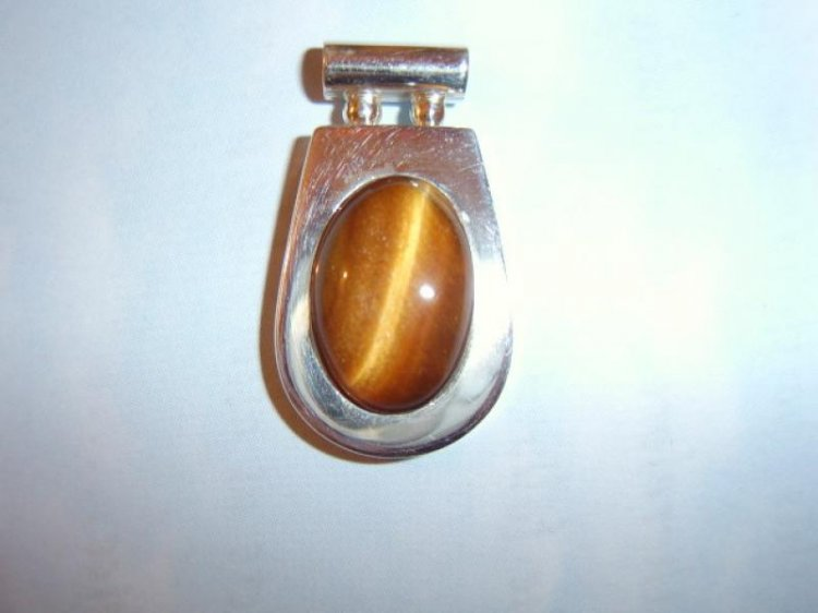 Tiger Eye Chunky Sterling Silver Pendant